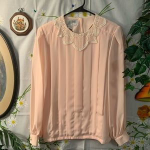 Vintage pastel pink heart lace collar blouse